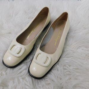 90s Salvatore Ferragamo white patent leather 9.5